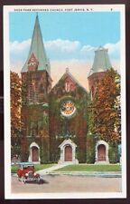 PORT JERVIS NEW YORK NY Deer Park Reformed Church Old Car Postcard PC