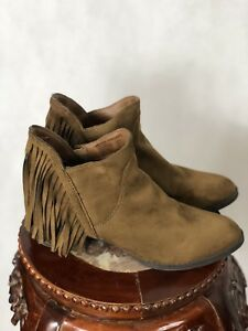 Faded Glory Fringe Suede Booties 6.5