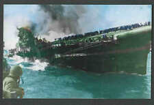 Ca 1964 PPC* CA WW2 USS FRANKLIN AIRCRAFT DISASTER BOMBED OFF COAST OF SEE INFO