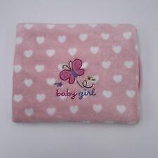 Garanimals Pink Baby Girl Blanket White Hearts Butterfly 30x39