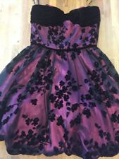 Betsey Johnson Size 8 Pink and Black Tulle Velvet Strapless Prom Dress Party GUC