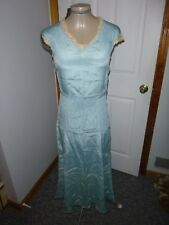 Authentic Vintage 1930's Silky Blue Party Dress Xs As-Is