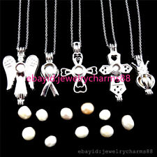 5pcs - Silver Oyster Pearl Cage Crown Angel Cross Ribbon Locket Necklace 21750