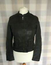 STOCKH LM Bike/Bomber Style REAL LEATHER Jacket Dark Brown Soft Size 36 8/10