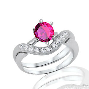 Ruby Round Infinity Celtic Engagement Wedding Silver Ring Set