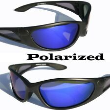 Matte Black Polarized sunglasses Blue mirror lens fishing golfing baseball 760