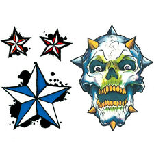 """""""Night Vision"""" Glow in the Dark Temporary Tattoo, Spiked Skull, Red & Blue Stars"""