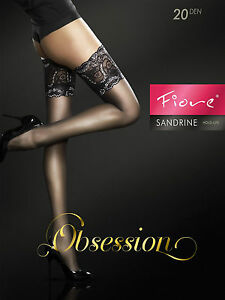 """Exclusive Hold-ups by Fiore """"SANDRINE"""" -20 Denier - 15 cm Deep Lace Top"""