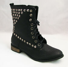 Women's Studded Boots Military Combat Fashion Lace Up Spike Zipper Shoes, Sizes