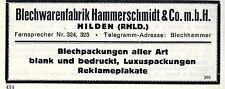 Blechwarenfabrik Hammerschmidt & Co. Hilden Historische Reklame 1925