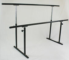 "Double Ballet Barre Stand Adjustable 31-49"", 300 lb Wt Capacity Pilate 54"" Long"