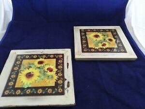 """Wood & Ceramic Tile Trivet/Wall Decor Sunflowers 8"""" x 8"""" EXCELLENT CONDITION"""