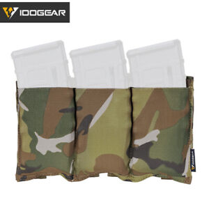 IDOGEAR Tactical 5.56 Mag Pouch Fast Draw MOLLE Mag Holder Carrier Triple Camo