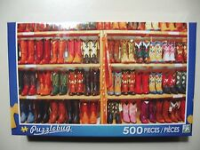 500 piece Puzzle, Puzzlebug: Rows of Colorful Cowboy Boots (Brand New & Sealed
