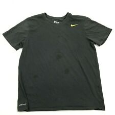 Nike Dry Fit Shirt Mens Size Large L Athletic Cut Charcoal Gray Green Check Tee