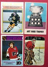 4 Card Vintage Lot Ray Bourque, Art Ross Trophy, Bobby Clarke, Ken Dryden