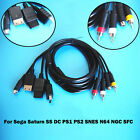 AV-S RCA Video Cable Cord for Sega Saturn SS DC PS1 PS2 N64 NGC SFC Game Console