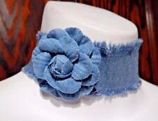 ROSE WIDE TATTERED DENIM BAND CHOKER Jeans 90s frayed necklace light blue 6I