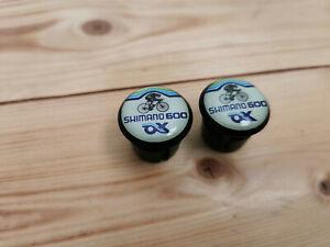 Shimano 600 AX aero black bike Handlebar Plugs end Caps Tapones bouchons lenker