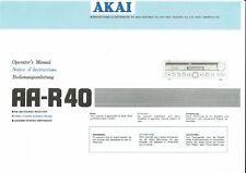 Akai  Bedienungsanleitung user manual owners manual  für AA- R 40