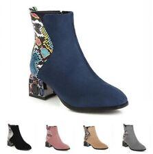 Женские полусапоги Челси замши ткани квадратный носок блок каблуки молния обувь D