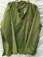 Mens Summer T-Shirt 100% Cotton Thai Hippie Shirt Botton, V Neck Beach Yoga Top
