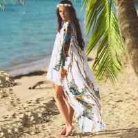 Damen Sommer Cardigan Longshirt Mantel Strand Bikini Cover Up Strandkleid Maxi