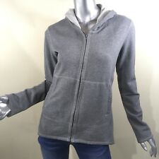Norma Kamali Women's Grey Zip Up High Low Hoodie Sweatshirt Size Medium