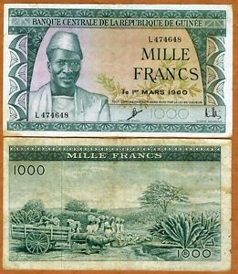 Guinea,1000 Francs, 1960, P-15, F > 60 year old African banknote