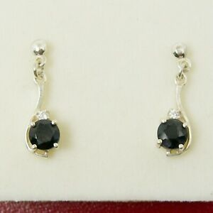 5mm Round Natural Sapphire Gemstone Stud Earrings Genuine 925 Sterling Silver