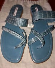 NEW MANOLO BLAHNIK Blue Crocodile Strappy Flat Sandals 41