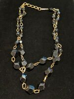 Vintage West Germany Gold Tone Black Faceted Bead Double Strand Necklace