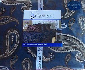 Impressions Flannel Cotton Duvet Set,King/California King, Paisley Blue-shipfree