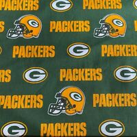 """Green Bay Packers Fabric-1/2 Yard 18""""H x 58""""W-100%Cotton-EXTRA WIDE"""