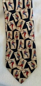 Very cool BALLY 100% pure silk mens neck tie with retro baseball player motif