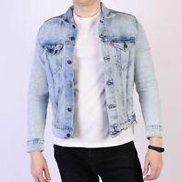 Levi's Pretty City hellblau befleckt Herren festive Trucker Jacket Größe M