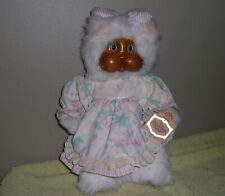 Vintage Charmaine Original Robert Raikes White Cat Wood Face With Box Applause