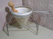 Vintage Aluminum Strainer Colander w/ Stand & Pestle