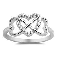 USA Seller Infinity Hearts Ring Sterling Silver 925 Best Deal Jewelry Size 6