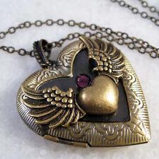 Angel Wing Heart Brass Picture Locket Purple CZ Pendant Necklace