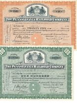 2 x The Pennsylvania Railroad Company, Historische Eisenbahnaktie, 1950er Jahre