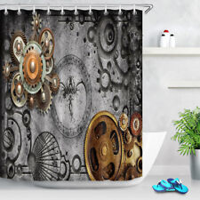 Steampunk Graffiti Shower Curtain Set Metallic Gear Bath Decor Waterproof Fabric