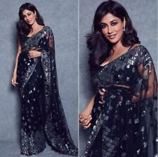 Bollywood Stylish Black Saree Indian Pakistani Net&Work Wedding Designer Sari 31