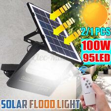 100W Solar Light LED Street Wall Flood Lamp Garden Spotlight + Remote Control