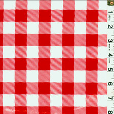 Red Check Oilcloth, Fabric By The Yard