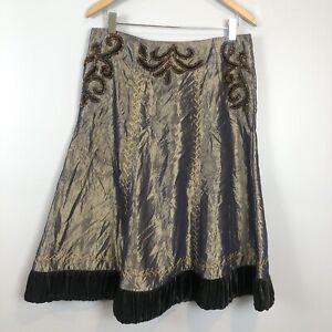 Cordelia Shimmy Lace Up Midi Skirt Beaded Velvet Embroidered Medium