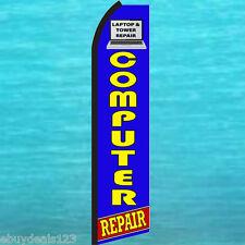Computer Repair Blue Swooper Flag Tall Flutter Feather Advertising Sign Banner