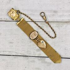 Vintage Sb Co Gold Filled Pocket Watch Fob Mesh Clip Initials Eb