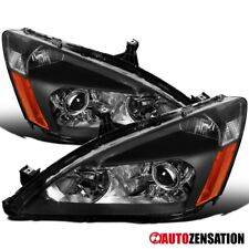 For 2003-2007 Honda Accord Black Clear Retro Style Projector Headlights Lamps