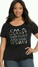 LANE BRYANT BLACK EMBELLISHED GRAPHIC CLASSY WOMAN SHORT SLEEVE TOP Sz 22/24